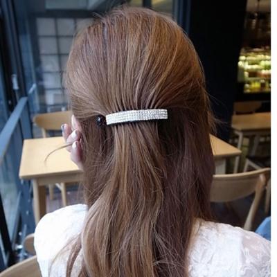 梨花HaNA-韓國滿鑽馬尾四排鑽一字髮夾扭夾香蕉夾黑底