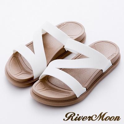 River&Moon拖鞋-Q軟輕量防水羅馬休閒拖鞋-白