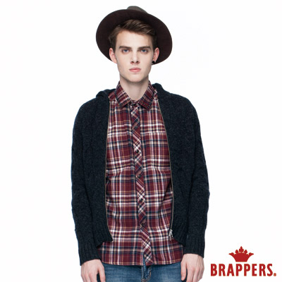 BRAPPERS-男款-男用銀拉鍊連帽毛衣外套