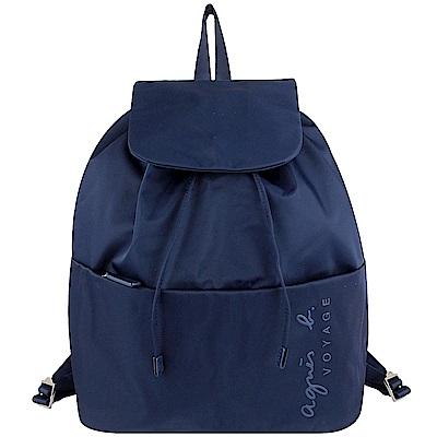agnes b. voyage 藍色尼龍拉繩縮口翻蓋後背包