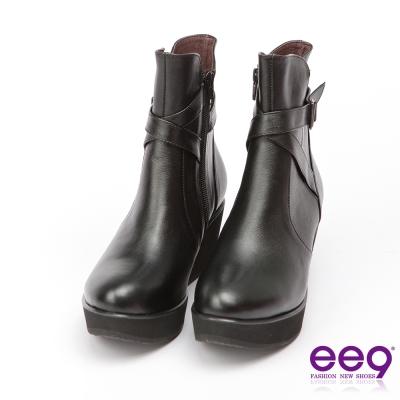 ee9 MIT經典手工~青春活力交叉繫帶素面楔型跟短筒靴*黑色