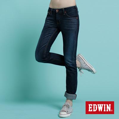 EDWIN-懷舊時光-MISS-505立體繡修身AB牛仔褲-女款-酵洗藍