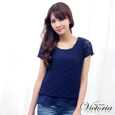 Victoria 假兩件全蕾絲雪紡短袖T-女-深藍