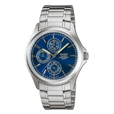 CASIO  完美世代三眼指針錶(MTP-1246D-2A)-藍/38.5mm