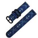 Watchband /潮流軍事船錨風尼龍錶帶 同寬藍色