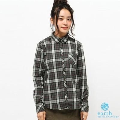 earth music 復古拼色格紋長袖襯衫