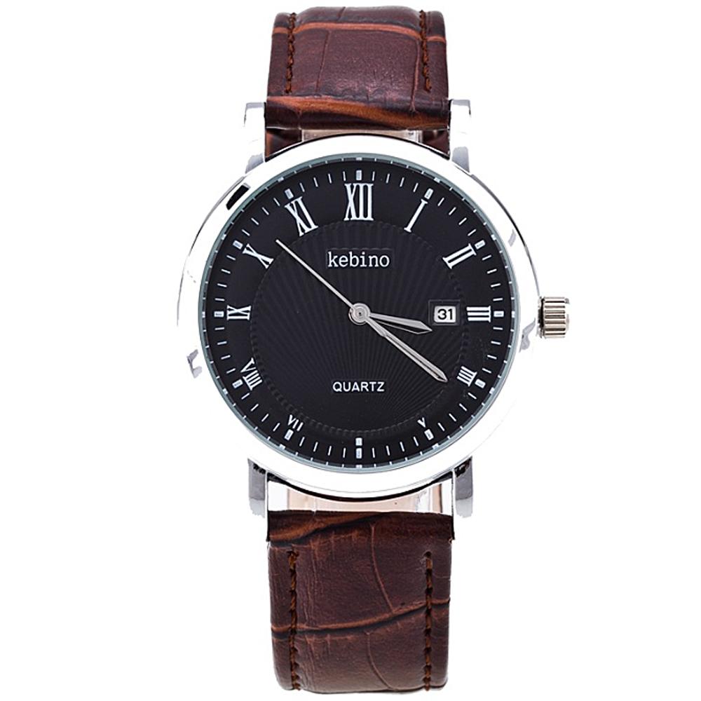 Watch-123 簡約大器商務變異羅馬標日曆手錶-咖啡帶x黑盤/40mm