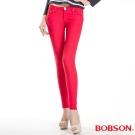 BOBSON 女款彩色強彈力緊身褲(紅13)