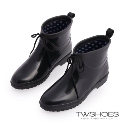 TW Shoes亮面伸縮鞋口卻爾西短雨鞋/雨靴-黑