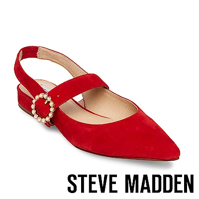 STEVE MADDEN-STORMY 尖頭珍珠圓扣低跟涼鞋-紅色