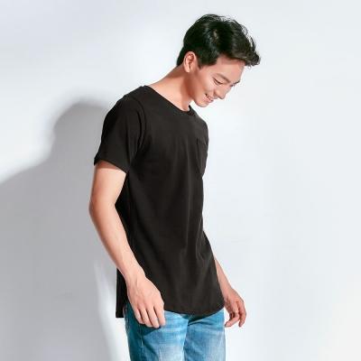101原創 素色造型下擺圓領口袋T恤上衣-共3色