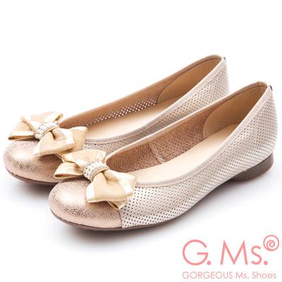 G.Ms. MIT系列-牛皮洞洞紗緞蝴蝶結娃娃鞋-金色