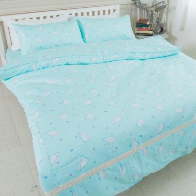 米夢家居-台灣製造-100%精梳純棉印花床包+兩用被套四件組-北極熊藍綠-雙人加大6尺