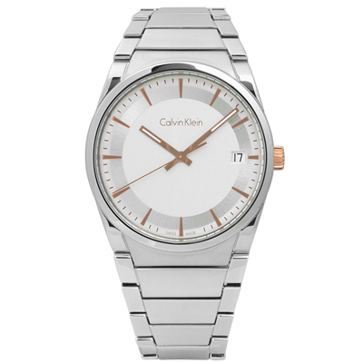 CK  step 俐落極簡知性日期不鏽鋼手錶-銀白色/38mm