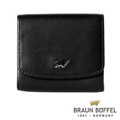 BRAUN-BUFFEL-HANS漢斯系列方形壓扣零錢包-經典黑
