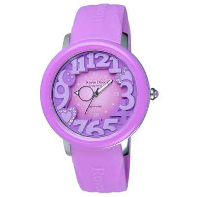 Roven Dino羅梵迪諾 漫步星雲時尚輕質量腕錶-紫/39mm