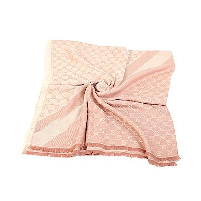 GUCCI-LOGO絲羊毛方型方型大披巾-140
