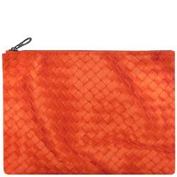 BOTTEGA VENETA 輕量尼龍編織圖紋手拿包/化妝包(橘色)