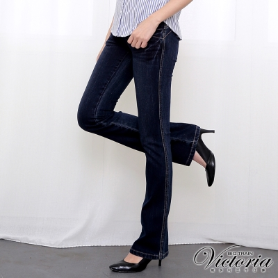 Victoria Victoria袋蓋靴型褲-女-深藍