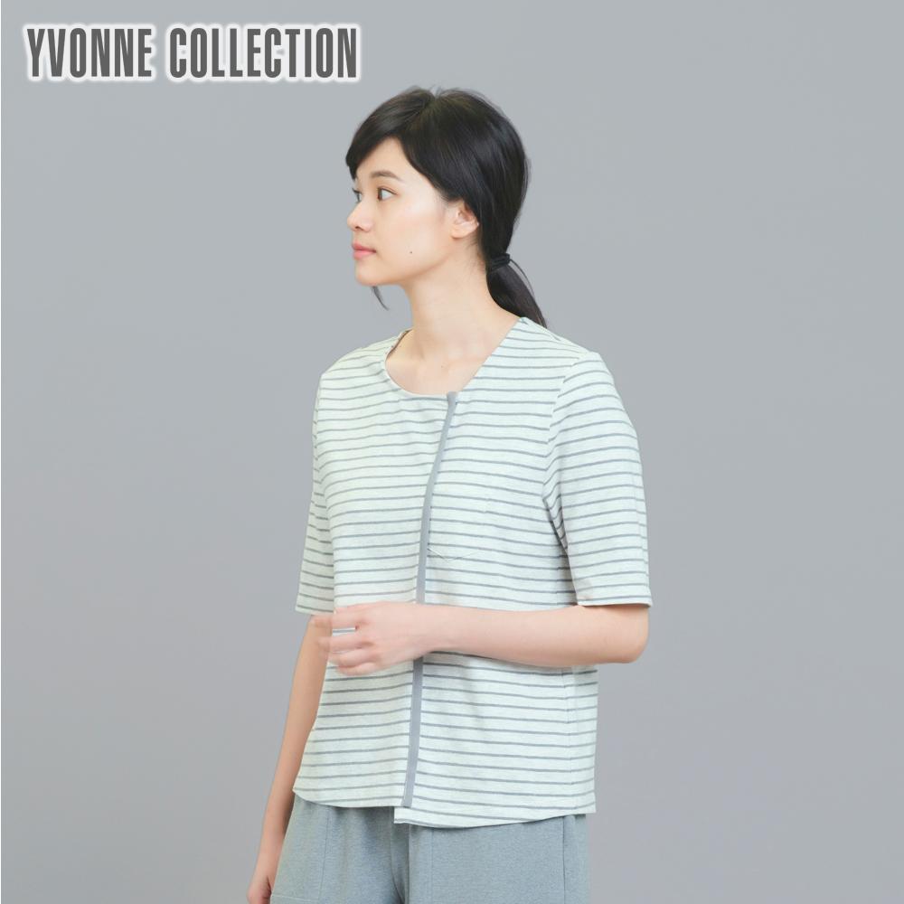 YVONNE條紋拼接上衣