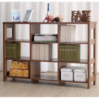 EASY HOME 三層九格隔間展示收納櫃-胡桃色(120x29.6x80cm)-DIY