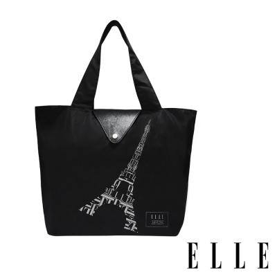 ELLE 鐵塔插畫環保摺疊購物袋- 經典黑G52368