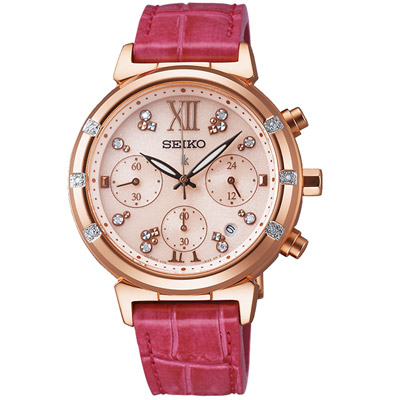 LUKIA-太陽能幸福時光三眼計時腕錶-SSVS0