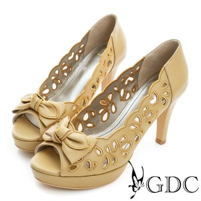 GDC-蝴蝶結心型簍空真皮魚口高跟鞋-黃色