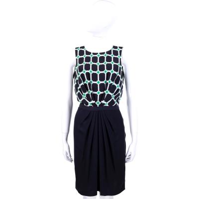 MICHAEL KORS 深藍色幾何圖形拼接設計無袖洋裝