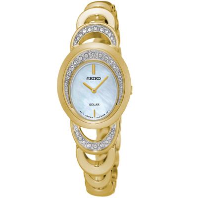 SEIKO 太陽能 璀璨年代 珍珠貝手鍊式鑽錶(SUP298P1)-金/23mm