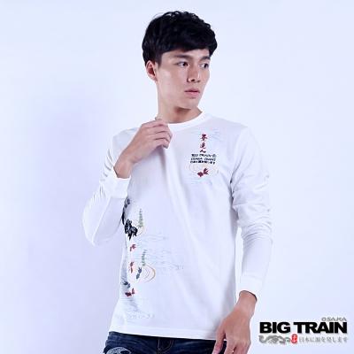 BIG TRAIN 金魚水草羅紋束口長袖T-男-白色