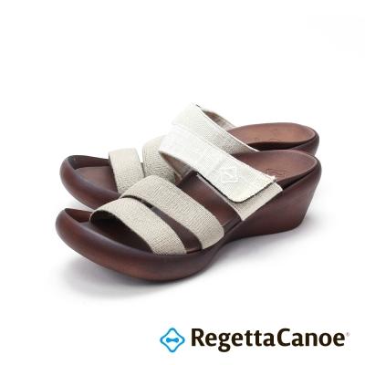 RegettaCanoe-三條寬帶 楔型跟底樂步鞋-象牙白