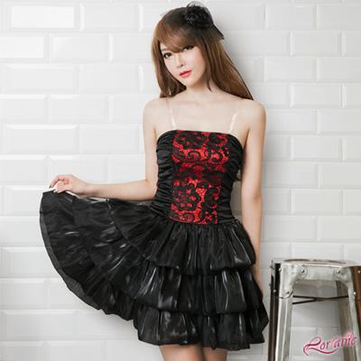 公主風 角色扮演 黑紅蕾絲公主澎裙三件式(黑粉F) Lorraine