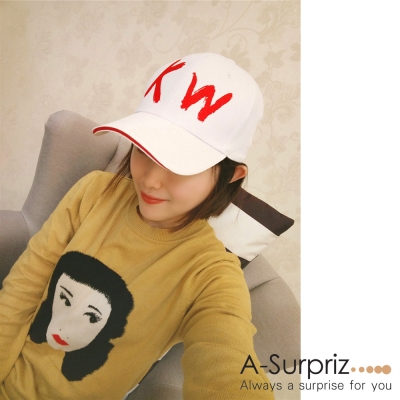 A-Surpriz KW字母棒球帽(白)