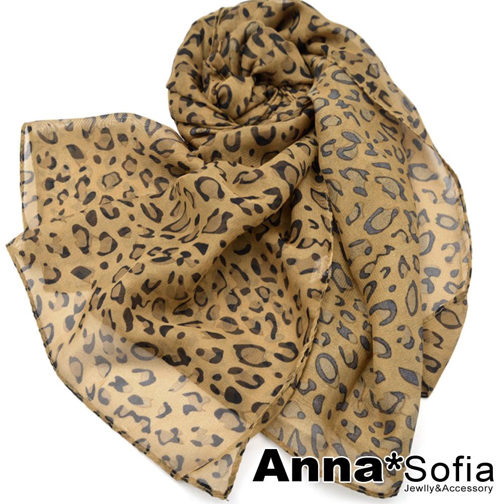 AnnaSofia 經典豹紋 雪紡長絲巾(深駝系)