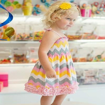 RuffleButts 小女童山型條紋款復古荷葉邊洋裝