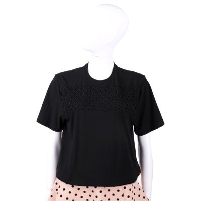 BALENCIAGA 黑色編織造型棉質短袖上衣/T恤