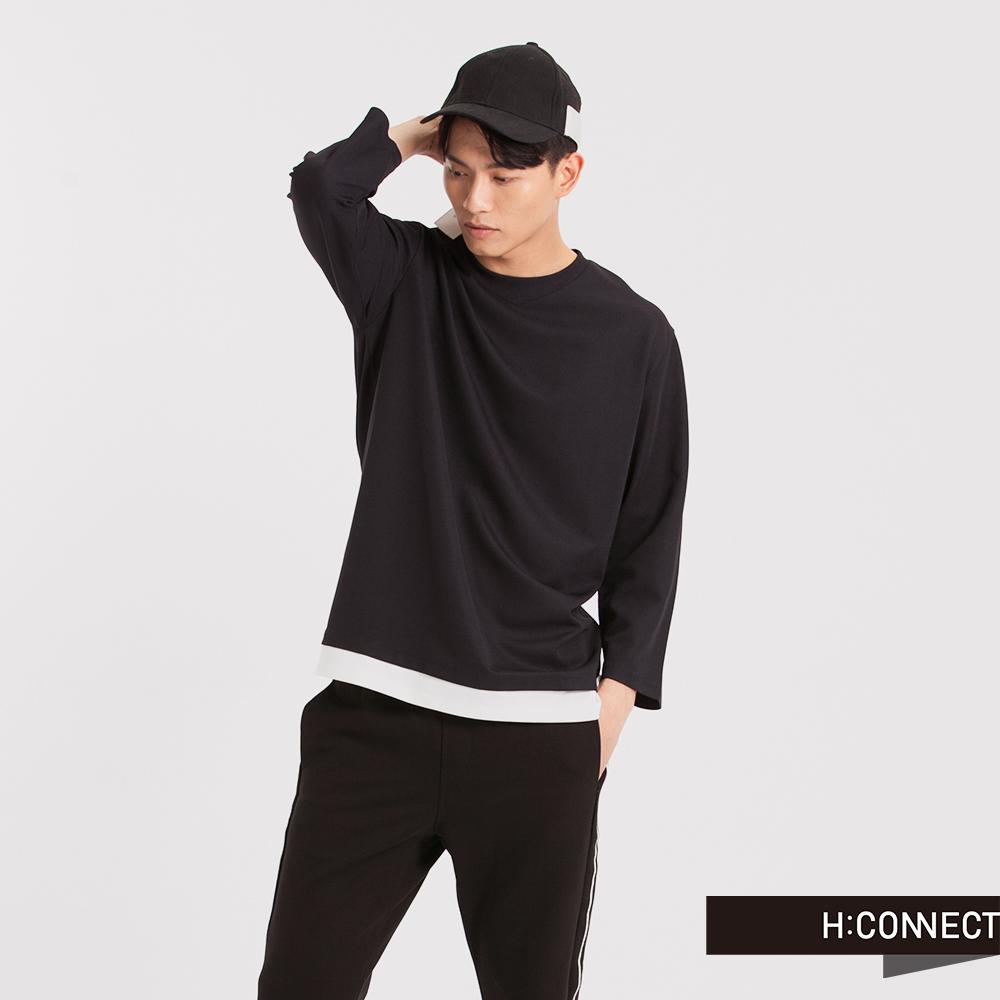 H:CONNECT 韓國品牌 男裝 - 假兩件下襬運動T-Shirt-深藍