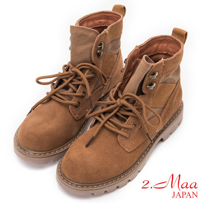 2.Maa - 率性潮流牛麂皮綁帶短靴 - 棕