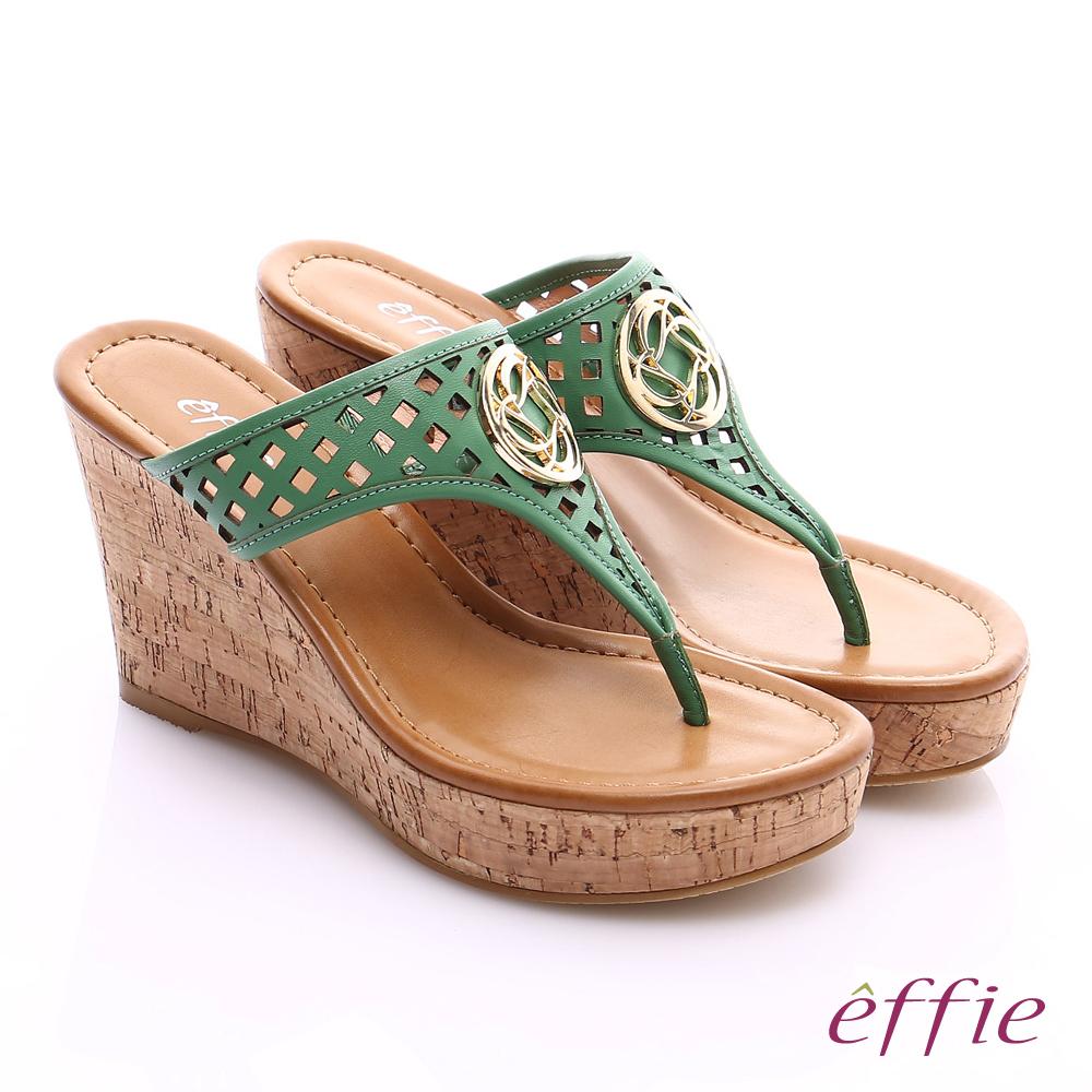 effie 摩登美型 真皮鏤空大釦飾Y字楔型拖鞋 綠色