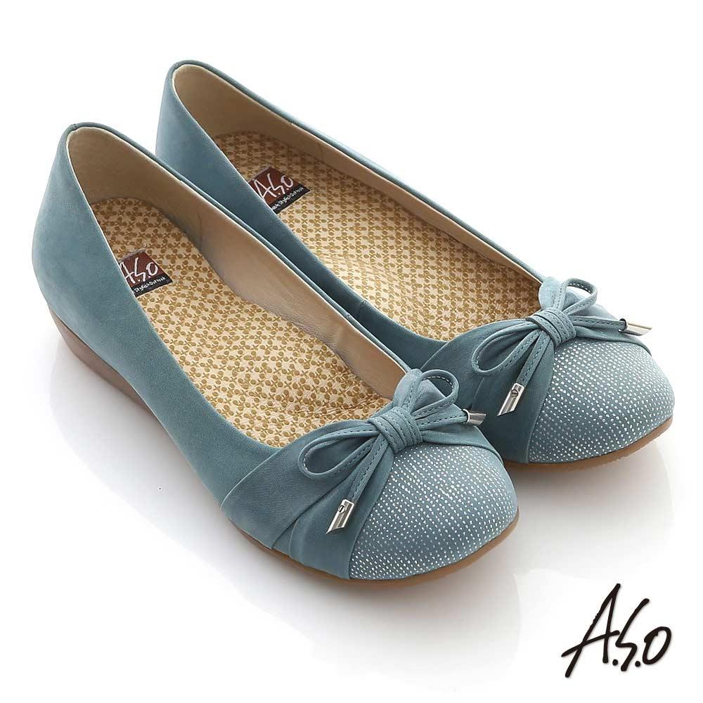 A.S.O 舒適軟芯 全真皮細帶蝴蝶平底娃娃鞋 藍