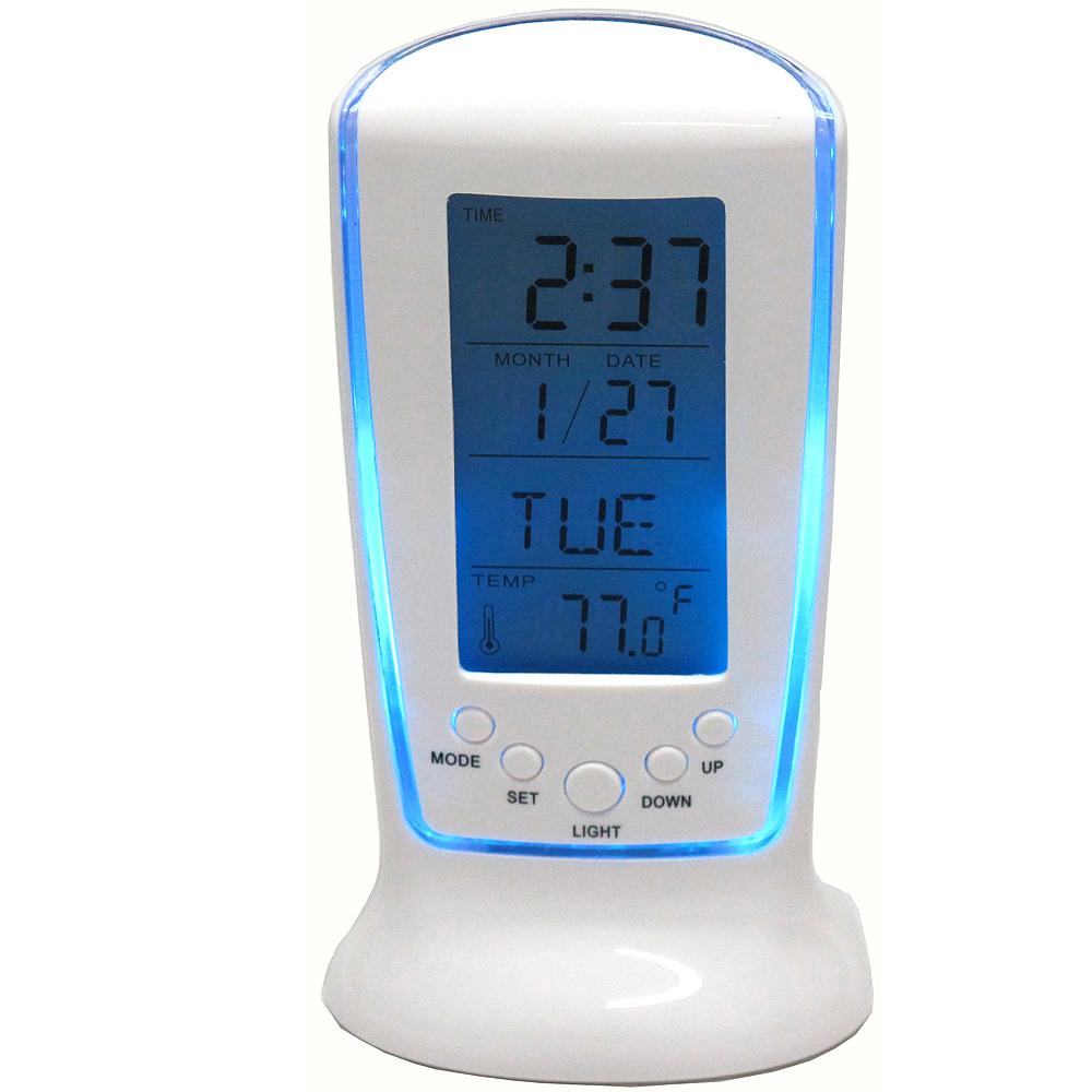 月陽藍色冷光萬年曆溫度計倒計時多功能鬧鈴秘書(510)