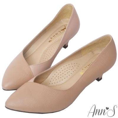 Ann'S頂級小羊皮拼接V口低跟尖頭鞋-粉