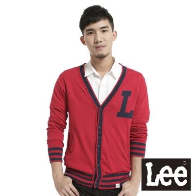 Lee-前開扣長袖針織薄外套-男款-紅