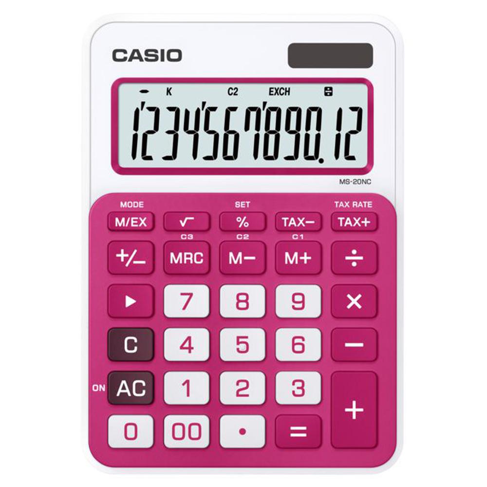CASIO 12位數時尚多彩桌上型計算機(MS-20NC-RD)桃紅/白