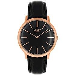 Henry London 英倫時尚真皮手錶-黑X金框/40mm