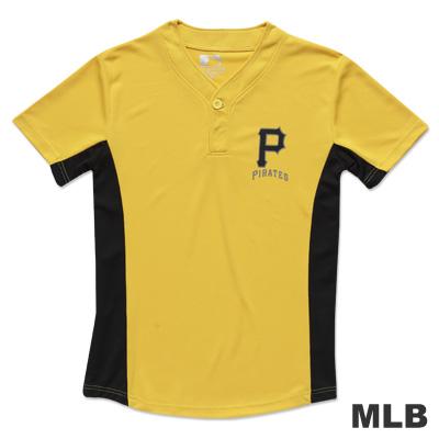 MLB-匹茲堡海盜隊開半襟印花快排球衣-黃(男)