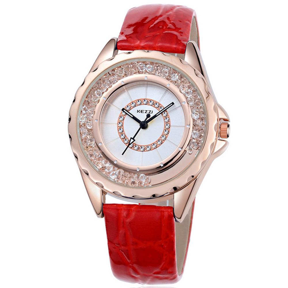珂紫Kezzi-742玫瑰金創意流沙晶鑽皮革手錶-紅色38mm