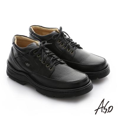 A.S.O 手縫氣墊 摔花牛軟皮半高筒綁帶皮鞋 黑色