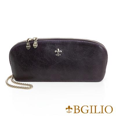 義大利BGilio-義大利蜡感裂紋牛皮精品手拿包-紫色-1944.004A-10